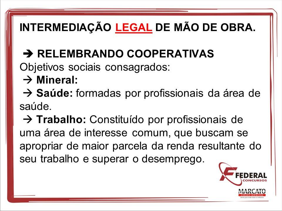 INTERMEDIAÇÃO LEGAL DE MÃO DE OBRA