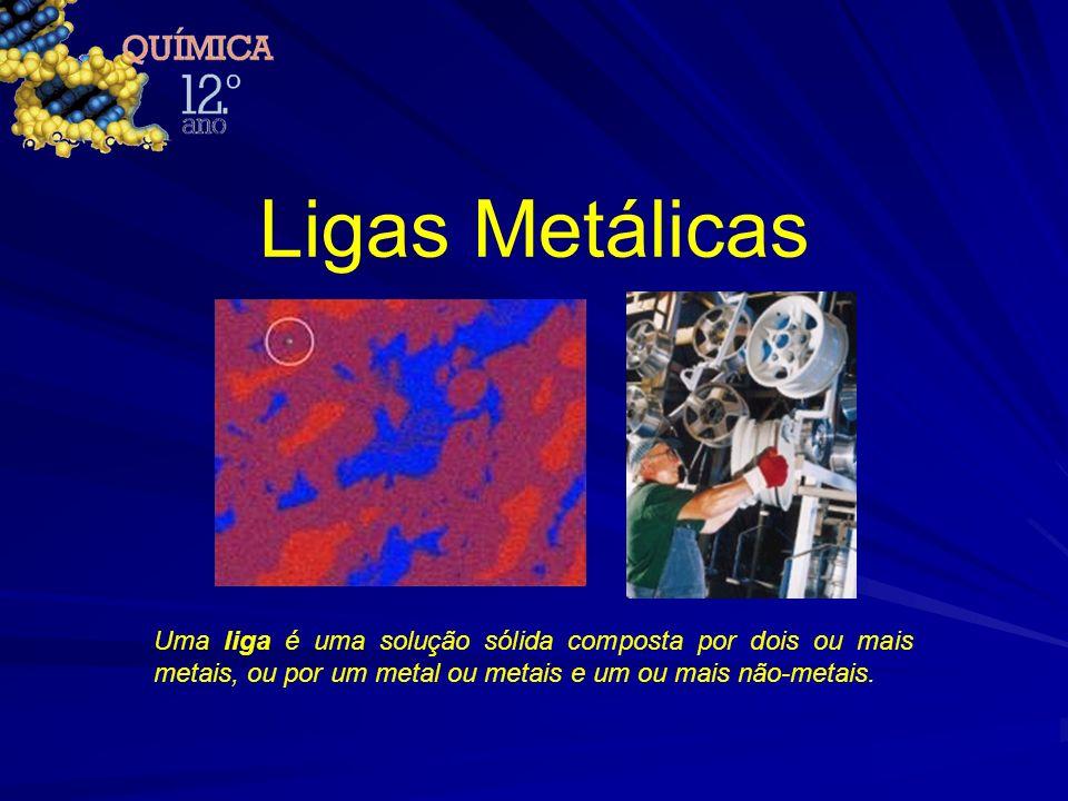 Ligas Metálicas Uma liga é uma solução sólida composta por dois ou mais metais, ou por um metal ou metais e um ou mais não-metais.