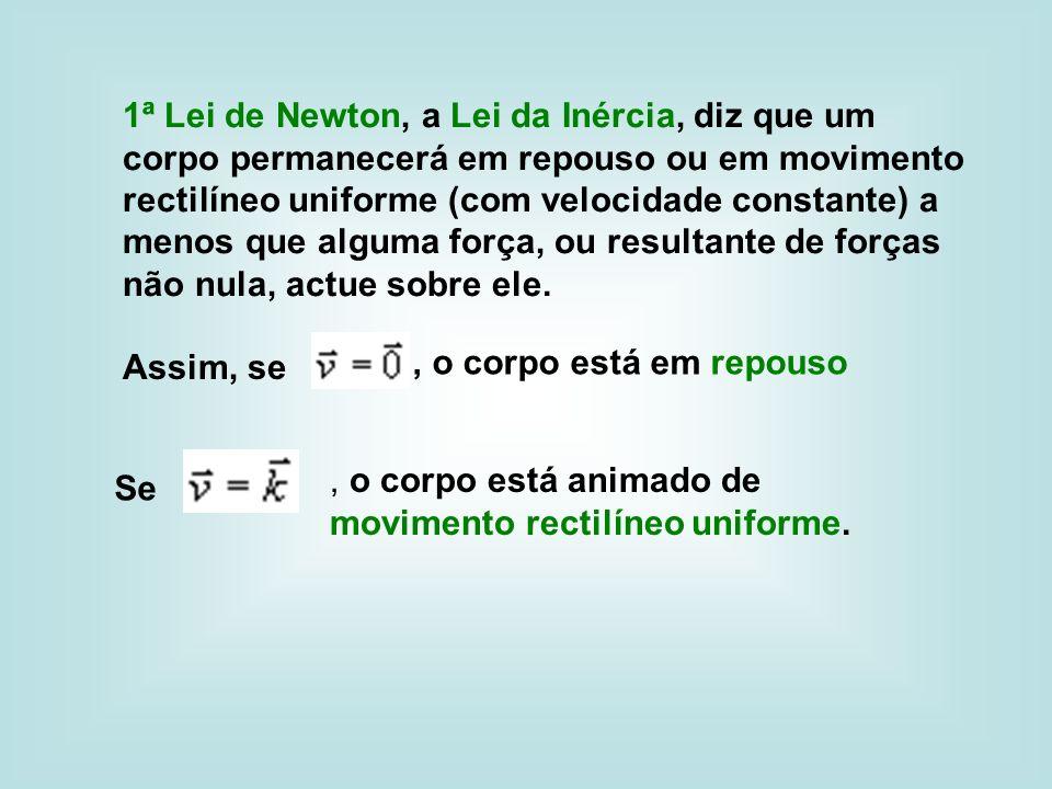 1ª Lei de Newton, a Lei da Inércia, diz que um corpo permanecerá em repouso ou em movimento rectilíneo uniforme (com velocidade constante) a menos que alguma força, ou resultante de forças não nula, actue sobre ele.