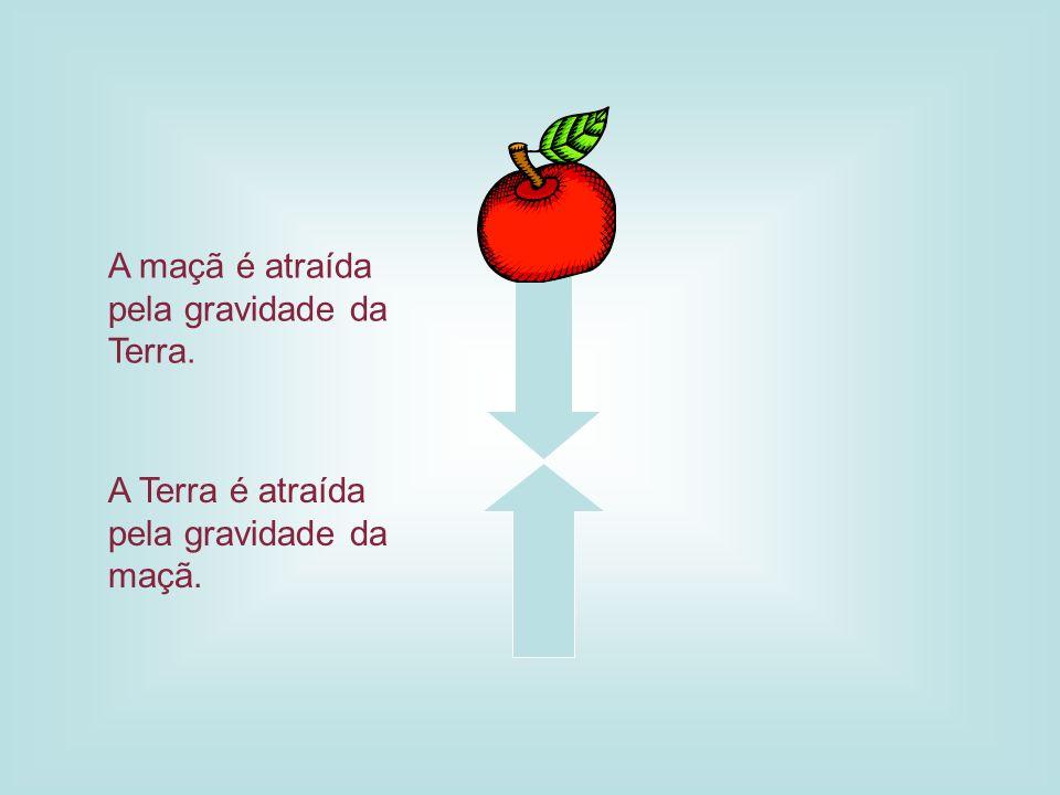A maçã é atraída pela gravidade da Terra.