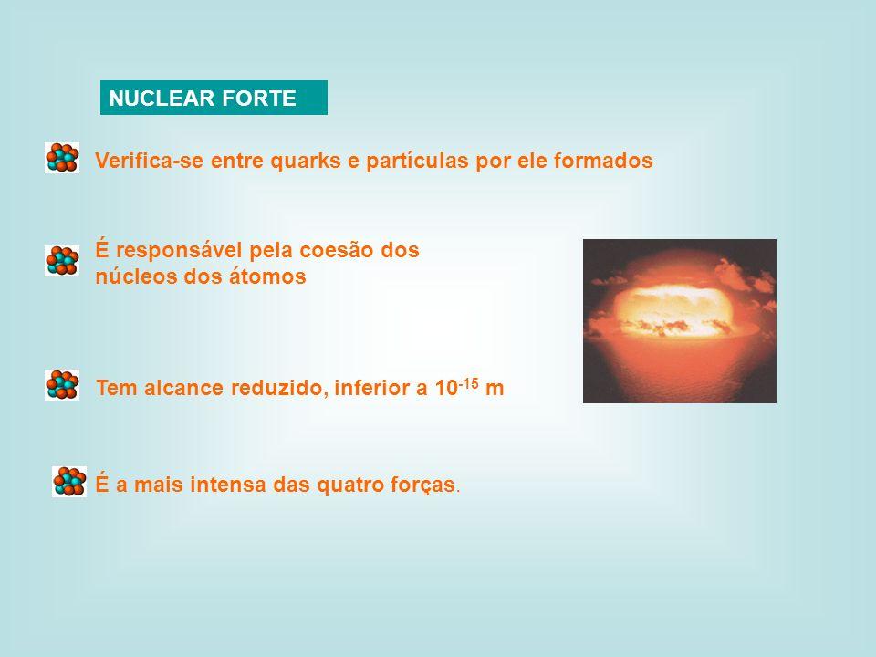 NUCLEAR FORTE Verifica-se entre quarks e partículas por ele formados. É responsável pela coesão dos núcleos dos átomos.