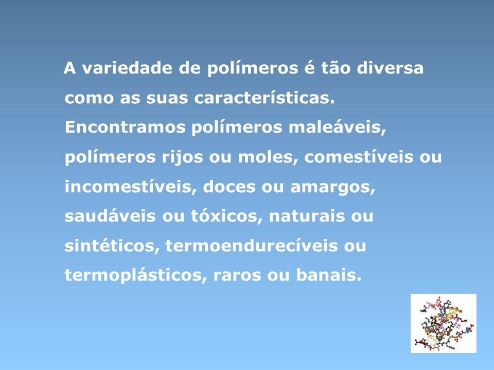 A variedade de polímeros é tão diversa como as suas características