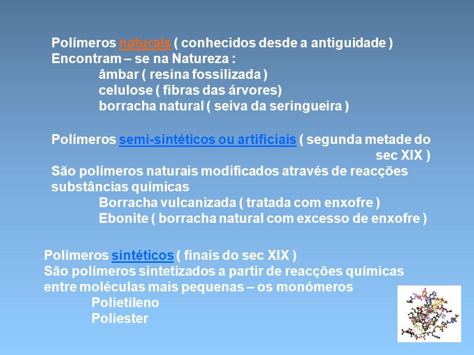 Polímeros naturais ( conhecidos desde a antiguidade )