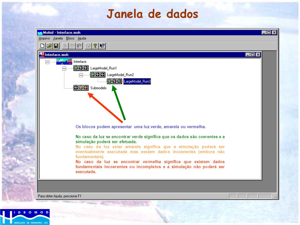 Janela de dadosOs blocos podem apresentar uma luz verde, amarela ou vermelha.