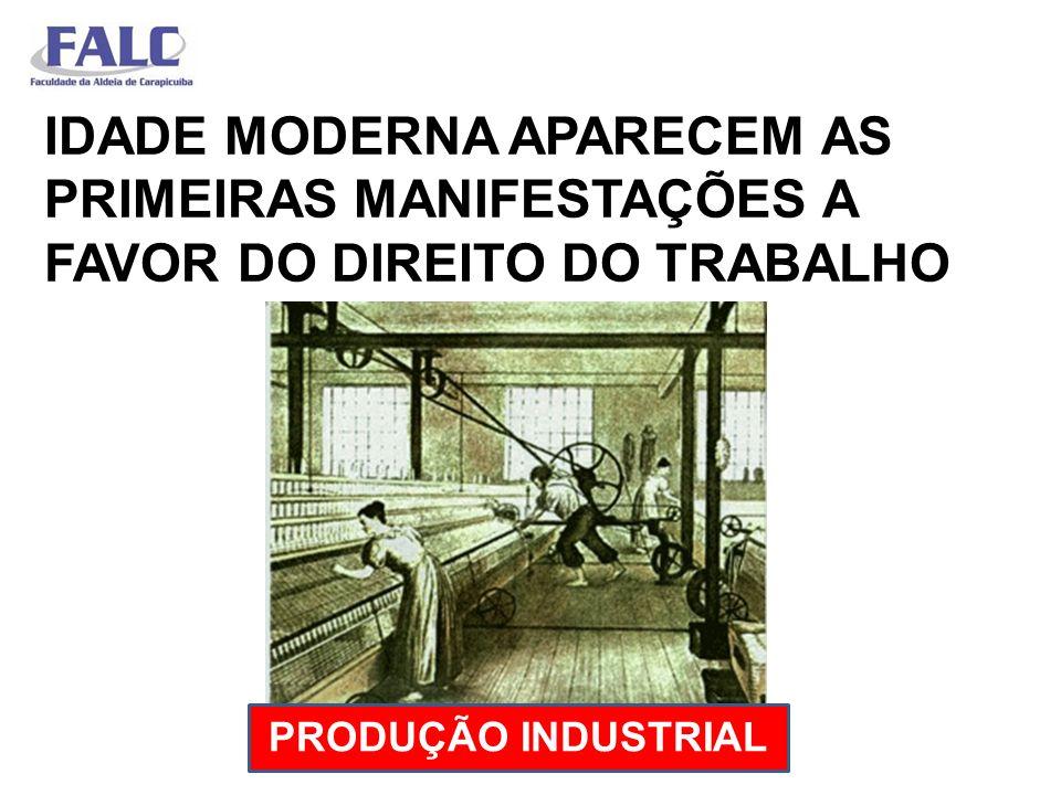 IDADE MODERNA APARECEM AS PRIMEIRAS MANIFESTAÇÕES A FAVOR DO DIREITO DO TRABALHO