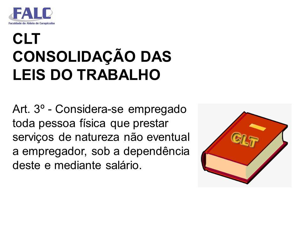 CLT CONSOLIDAÇÃO DAS LEIS DO TRABALHO Art