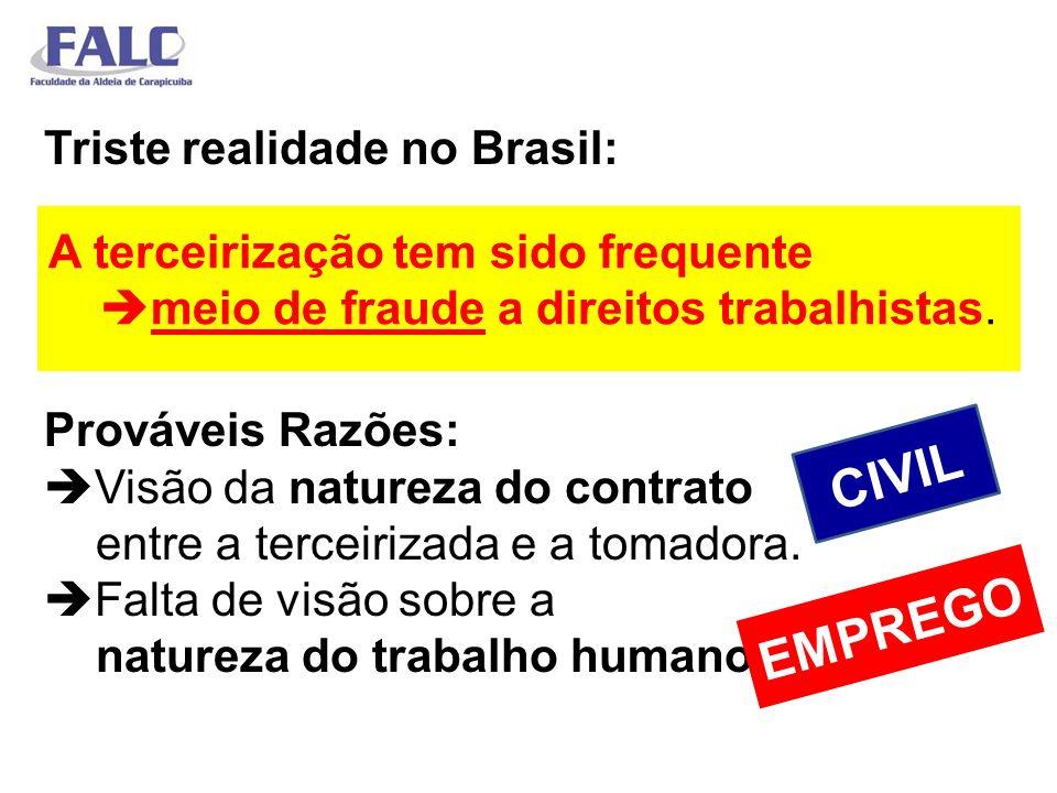 Triste realidade no Brasil: Prováveis Razões: Visão da natureza do contrato entre a terceirizada e a tomadora. Falta de visão sobre a natureza do trabalho humano.
