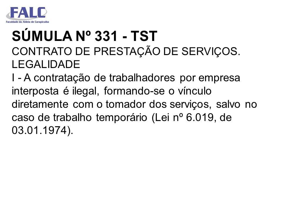 SÚMULA Nº 331 - TST CONTRATO DE PRESTAÇÃO DE SERVIÇOS