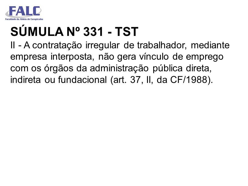 SÚMULA Nº 331 - TST II - A contratação irregular de trabalhador, mediante empresa interposta, não gera vínculo de emprego com os órgãos da administração pública direta, indireta ou fundacional (art.