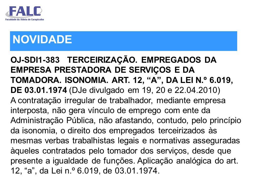 OJ-SDI1-383 TERCEIRIZAÇÃO