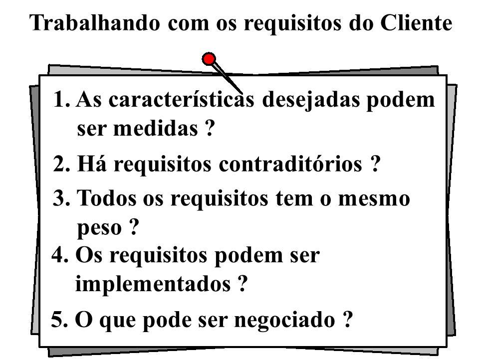 Trabalhando com os requisitos do Cliente