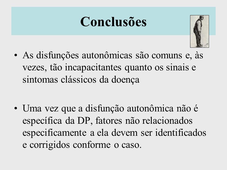 Conclusões As disfunções autonômicas são comuns e, às vezes, tão incapacitantes quanto os sinais e sintomas clássicos da doença.