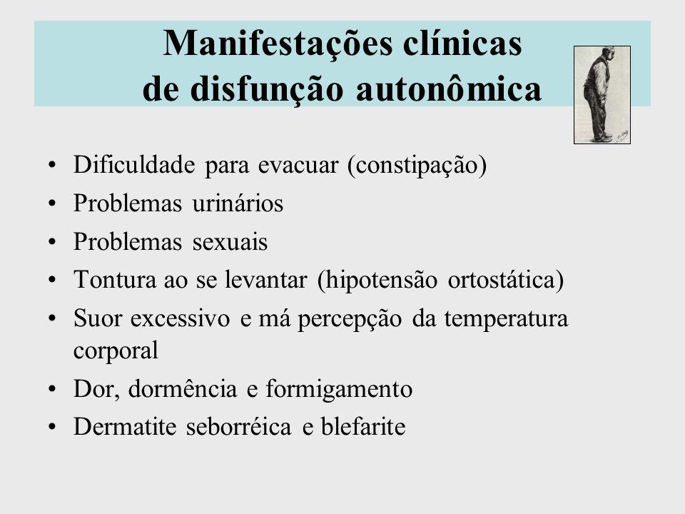 Manifestações clínicas de disfunção autonômica