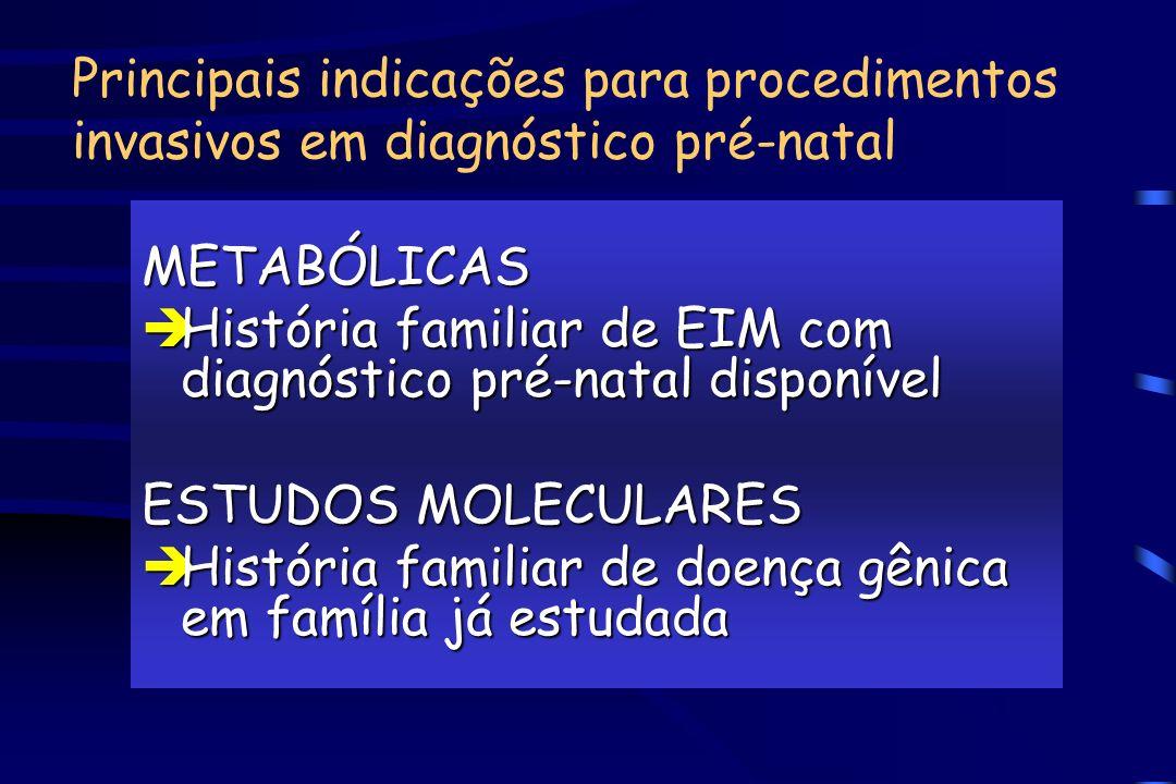 Principais indicações para procedimentos invasivos em diagnóstico pré-natal