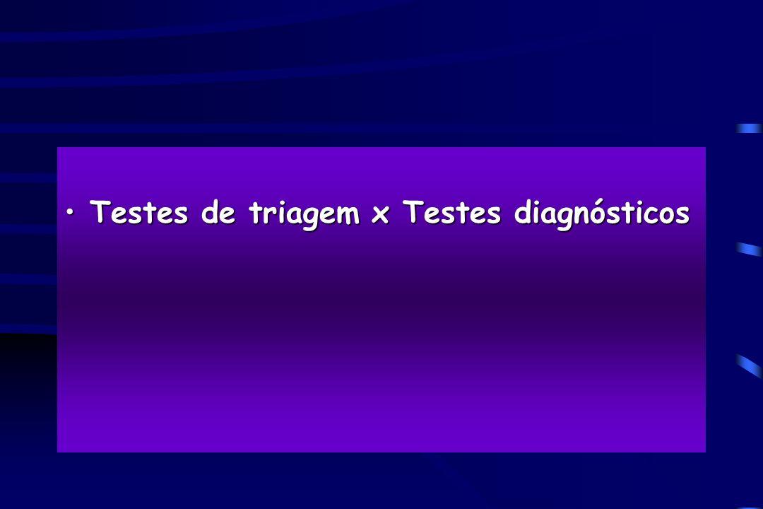 Testes de triagem x Testes diagnósticos