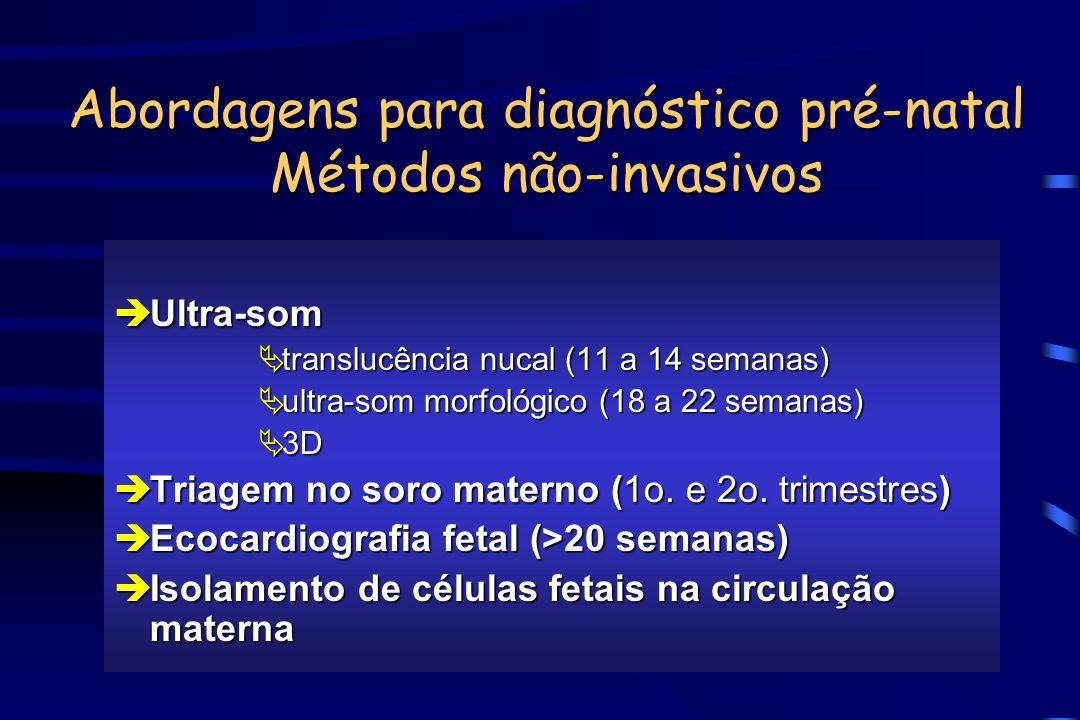 Abordagens para diagnóstico pré-natal Métodos não-invasivos