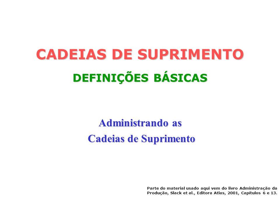 CADEIAS DE SUPRIMENTO DEFINIÇÕES BÁSICAS