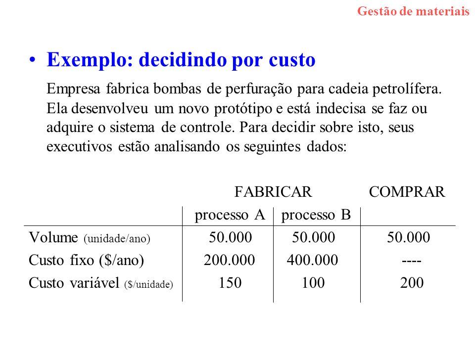Exemplo: decidindo por custo