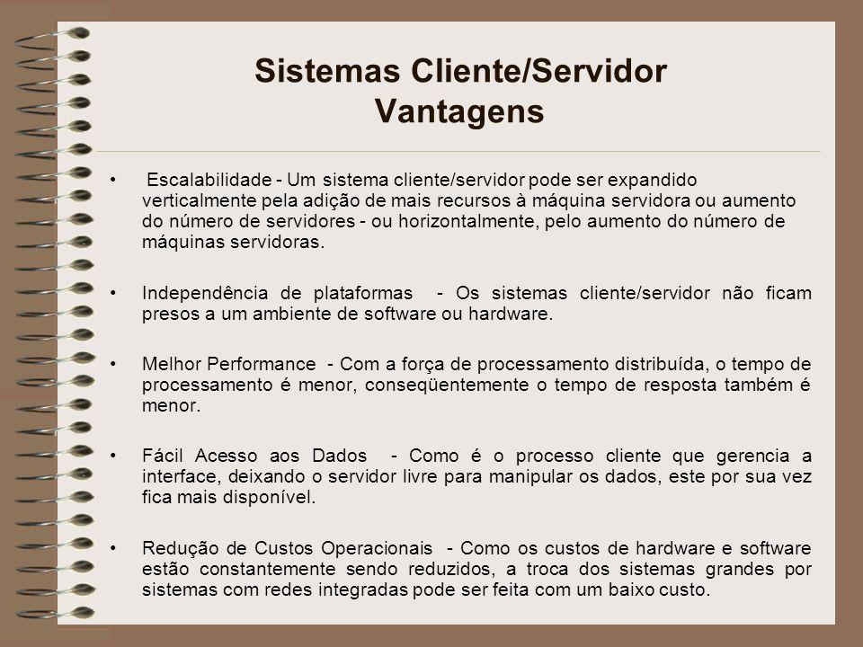 Sistemas Cliente/Servidor Vantagens
