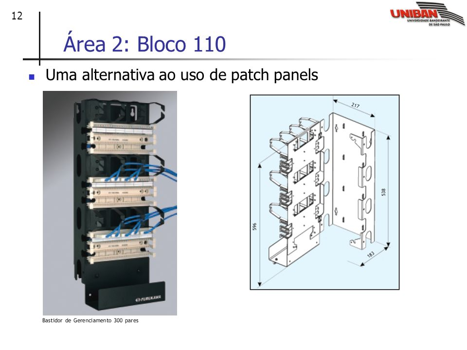 Área 2: Bloco 110 Uma alternativa ao uso de patch panels