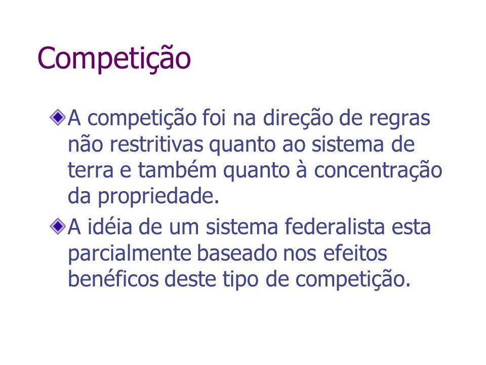 CompetiçãoA competição foi na direção de regras não restritivas quanto ao sistema de terra e também quanto à concentração da propriedade.