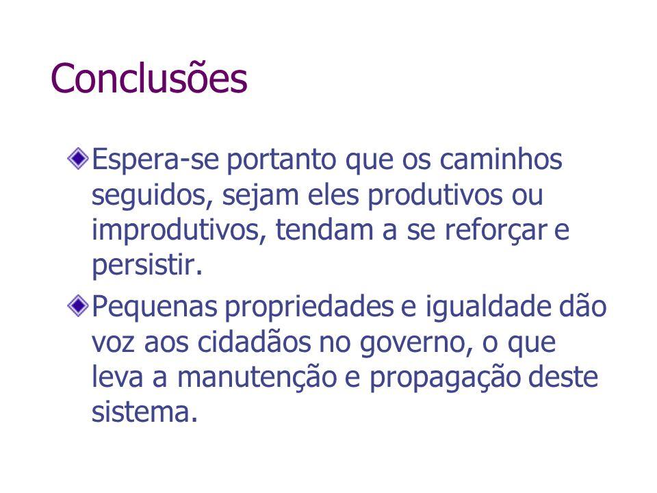 ConclusõesEspera-se portanto que os caminhos seguidos, sejam eles produtivos ou improdutivos, tendam a se reforçar e persistir.