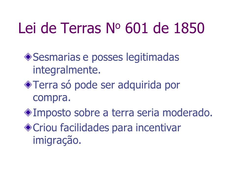 Lei de Terras No 601 de 1850Sesmarias e posses legitimadas integralmente. Terra só pode ser adquirida por compra.