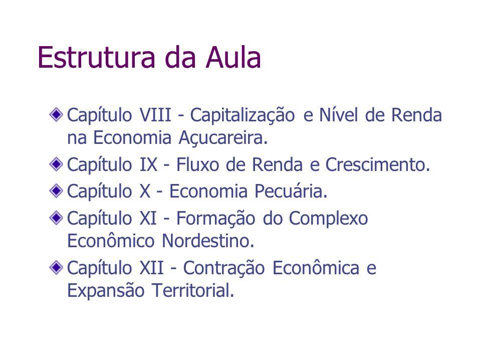 Estrutura da AulaCapítulo VIII - Capitalização e Nível de Renda na Economia Açucareira. Capítulo IX - Fluxo de Renda e Crescimento.