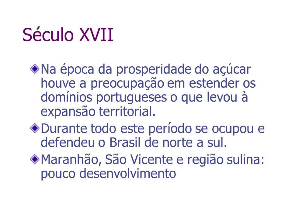 Século XVIINa época da prosperidade do açúcar houve a preocupação em estender os domínios portugueses o que levou à expansão territorial.