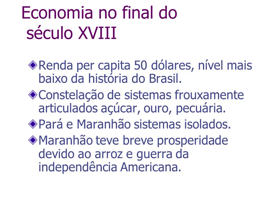 Economia no final do século XVIII
