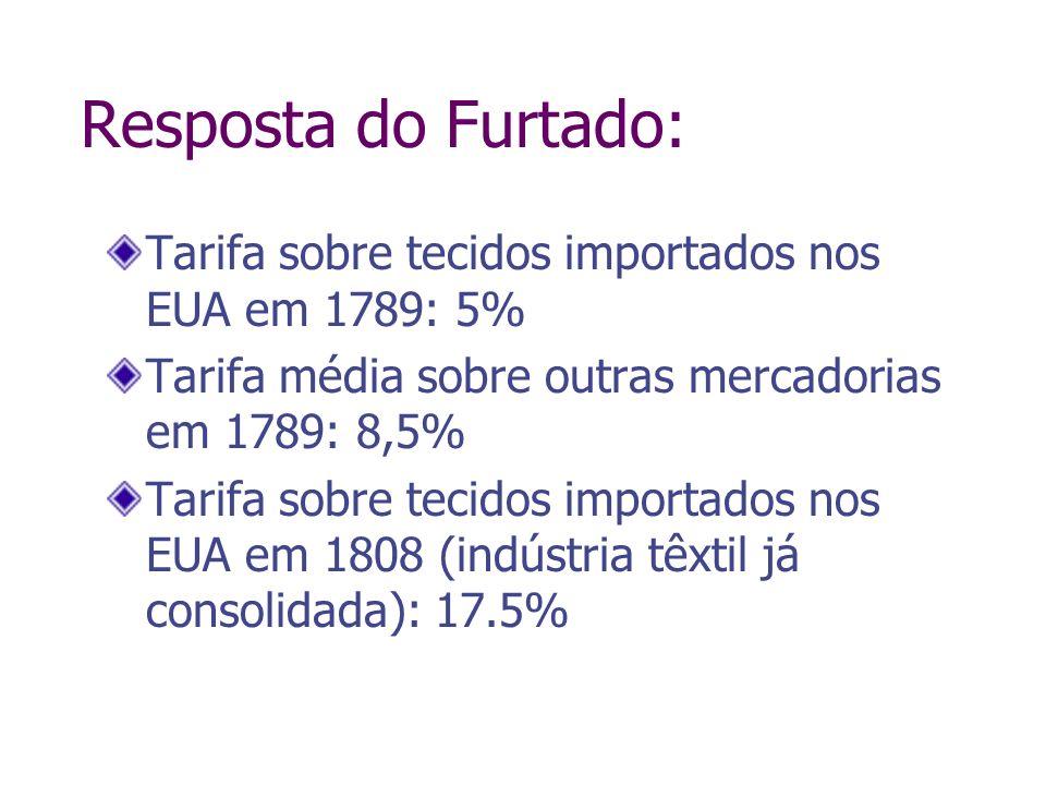 Resposta do Furtado:Tarifa sobre tecidos importados nos EUA em 1789: 5% Tarifa média sobre outras mercadorias em 1789: 8,5%