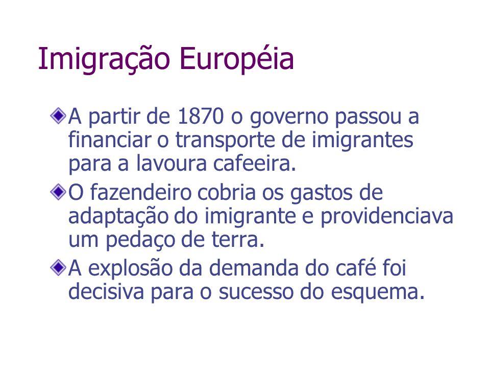 Imigração EuropéiaA partir de 1870 o governo passou a financiar o transporte de imigrantes para a lavoura cafeeira.