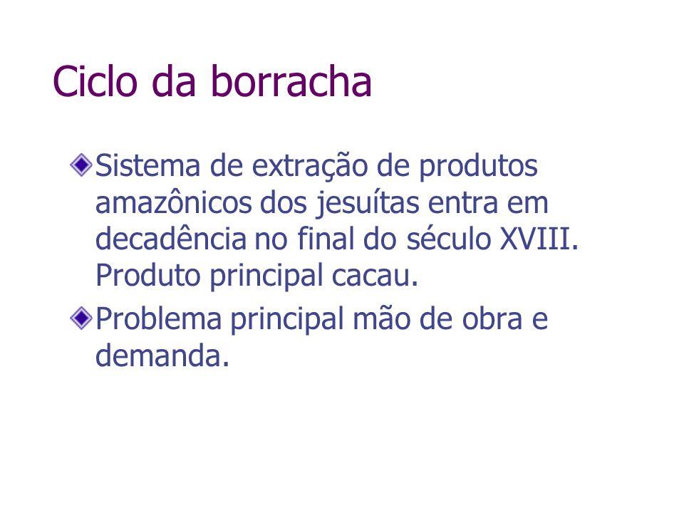 Ciclo da borrachaSistema de extração de produtos amazônicos dos jesuítas entra em decadência no final do século XVIII. Produto principal cacau.