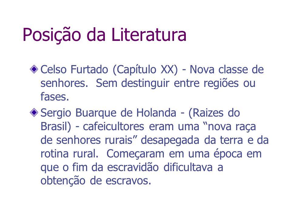 Posição da LiteraturaCelso Furtado (Capítulo XX) - Nova classe de senhores. Sem destinguir entre regiões ou fases.