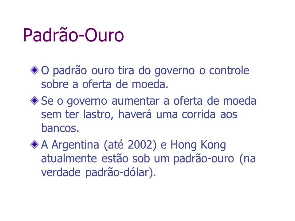 Padrão-OuroO padrão ouro tira do governo o controle sobre a oferta de moeda.