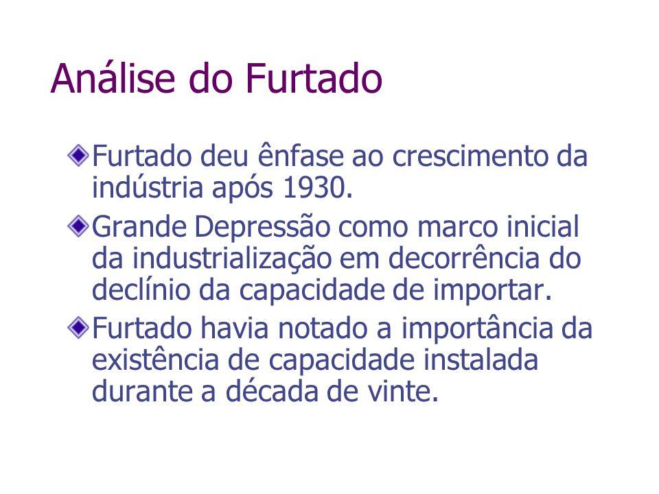 Análise do FurtadoFurtado deu ênfase ao crescimento da indústria após 1930.