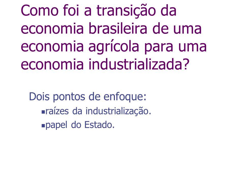 Dois pontos de enfoque: raízes da industrialização. papel do Estado.