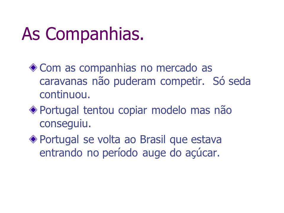 As Companhias.Com as companhias no mercado as caravanas não puderam competir. Só seda continuou. Portugal tentou copiar modelo mas não conseguiu.