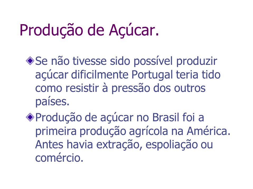 Produção de Açúcar.Se não tivesse sido possível produzir açúcar dificilmente Portugal teria tido como resistir à pressão dos outros países.