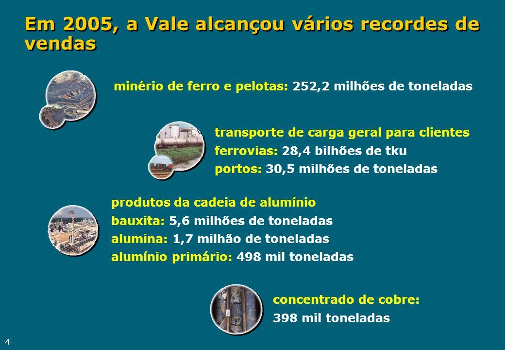 Em 2005, a Vale alcançou vários recordes de vendas