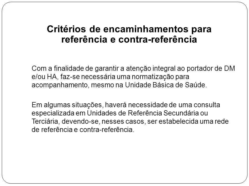 Critérios de encaminhamentos para referência e contra-referência