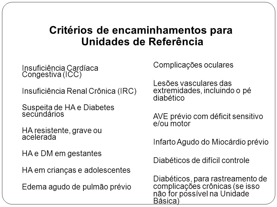 Critérios de encaminhamentos para Unidades de Referência