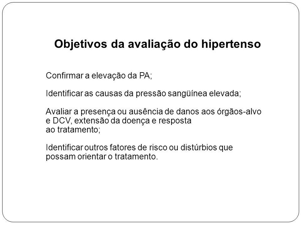 Objetivos da avaliação do hipertenso