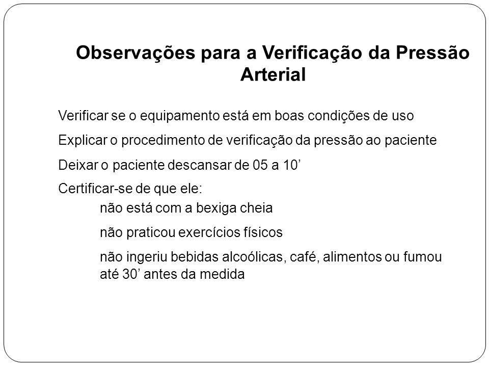 Observações para a Verificação da Pressão Arterial