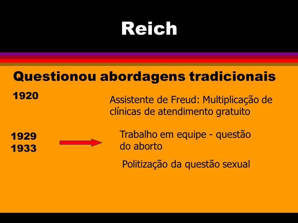 Reich Questionou abordagens tradicionais 1920