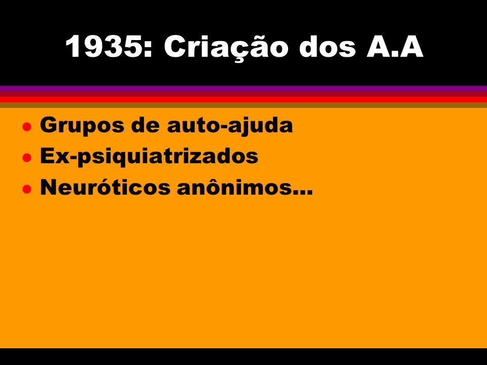 1935: Criação dos A.A Grupos de auto-ajuda Ex-psiquiatrizados