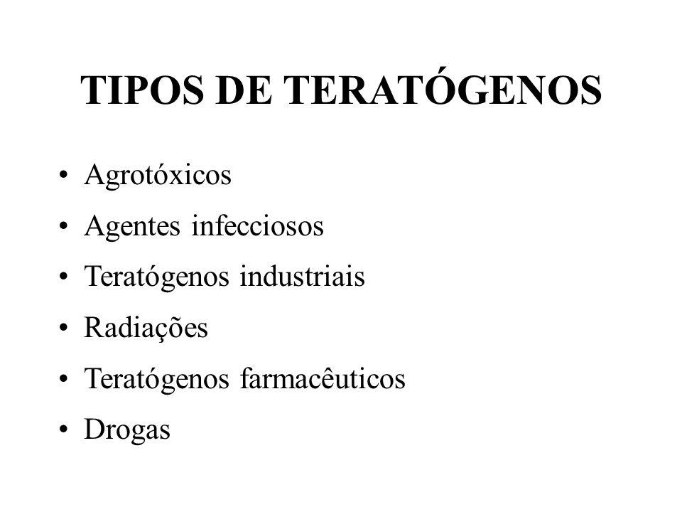 TIPOS DE TERATÓGENOS Agrotóxicos Agentes infecciosos