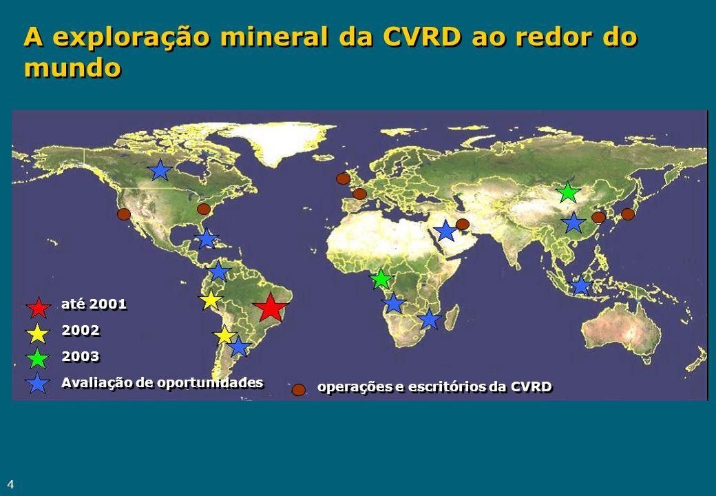 A exploração mineral da CVRD ao redor do mundo