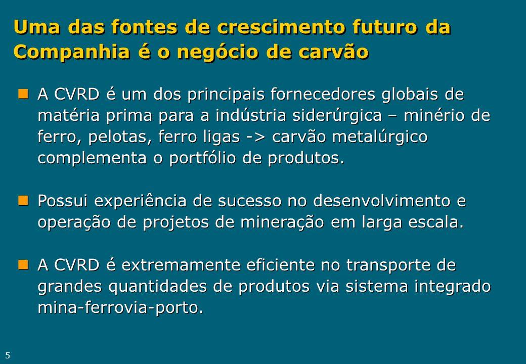 Uma das fontes de crescimento futuro da Companhia é o negócio de carvão