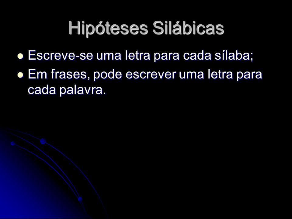 Hipóteses Silábicas Escreve-se uma letra para cada sílaba;